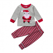 Exteren Newborn Girls Boys Girl Christmas Santa Tops+Stripe Pants Outfits Clothes Set