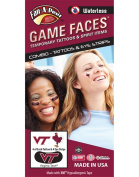 Virginia Tech Hokies – Waterless Peel & Stick Temporary Tattoos – 12-Piece Combo – 4 Maroon/Burnt Orange VT Logo Spirit Tattoos & 4 Eye Strips