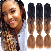 Dingxiu (3Packs,60cm ) Ombre Braiding Hair Extensions Afro Jumbo Braids Synthetic Kanekalon Fibre Hair Two Tone Twist Braiding hair 100g/Pack