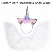 ECBASKET Unicorn Horn Headband Sliver Unicorn Cat Ears Headband +Small Feather Wings White Angel Wing For Kids Costume