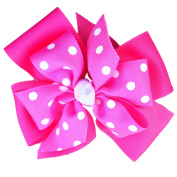 Victory Bows Large Four Loop Bow with Mini Flower- The Monica - Made in the USA French Clip