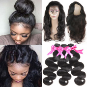 360 Lace Frontal with Bundles 8A Brazilian Body Wave Virgin Hair with Frontal Closure Pre Plucked 360 Lace Frontal with Baby Hair Natural Black Colour