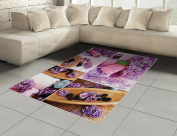 Spa Area Rug by Lunarable, Aromatic Spa with Lilac Petals Fresh Therapy Oils Bath Salt Soap Relax Meditation Collage, Flat Woven Accent Rug for Living Room Bedroom Dining Room, 1.6m x 2.3m, Violet
