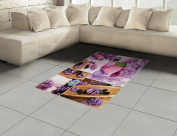 Spa Area Rug by Lunarable, Aromatic Spa with Lilac Petals Fresh Therapy Oils Bath Salt Soap Relax Meditation Collage, Flat Woven Accent Rug for Living Room Bedroom Dining Room, 1.2m x 1.8m, Violet