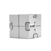 Metal Infinity Cube, Gazeto Durable Aluminium Alloy Decompression Toys, Pressure Reduction Educational Toys Stress Relief Toy Games Square Cube for Adult and Children Silver