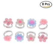 Kids Adjustable Flower Ring Multi Colour Cute Rings For Girls Handmade Jewellery Set of 8, 4 Different Kinds of Style