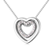 Gluckliy Crystal Double Heart Pendant Necklace, You Are always in My Heart Double Heart Hollow-out Necklace for Women
