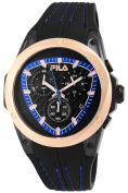 Fila Men's Watch with Silicone Strap Black Blue Copper Chronograph Sporty Waterproof Modern 10 ATM Date Stopwatch