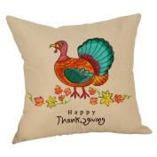 Masrin Happy Fall Thanksgiving Day Linen Turkey Pillow Case Cushion Cover Home Party Decor Gift