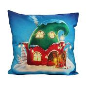 Buimin Merry Christmas Print Flax Cotton Pillowcase Sofa Cushion Home Decoration