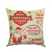 Christmas Pillow case,MEIbax Merry Christmas Print Pillowcase Linen Cotton Sofa Cushion Cover Home Decor