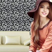 Wanshop® 5Pcs PET 3D DIY Slate Stone Brick Effect Kitchen and Bathroom Wallpaper Washable Vinyl Light Embossed Brick Stone Tiles Anti-mould Peel and Wall Sticker Decor