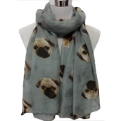 Women Scarves, Xinantime Lady Long Cute Pug Dog Print Scarf Wraps Shawl Soft Scarves