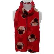 Women Scarves, Xinantime Lady Long Cute Pug Dog Print Scarf Wraps Shawl Soft Scarves