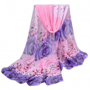 Women Scarves, Xinantime Rose Pattern Chiffon Shawl Wrap Scarf Scarves