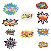 10 Iron-On Embroidered Patches with Exclamation-Message Designs - Suitable for Clothing, Bags, Jackets, Scrapbooking, Sewing and More - Open Buy