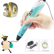 2nd Generation 3D Pen with LCD Screen for Doodling, Art, Craft Making, Printing 3D Pen Modelling and Education ABS/PLA Create 3D Art No Mess, Non-Toxic