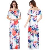 Women Dress, Familizo Ladies Strapless Long Dress Off Shoulder Floral Printed Ruffles Dress