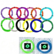 UEETEK 14 Colours 3D Printing Pen Filament Refills Kit 1.75mm ABS 10M for Each Roll