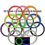 UEETEK 3D Print ABS Filament for 3D Printer Pen 10M 1.75mm 10 Colours + 2 Fluorescent Colours