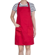 Cooking Aprons, Diealles Kitchen Aprons with Adjustable Neck Straps and 2 Front Pockets for Home Kitchen,Restaurant,Coffee House and etc - Red
