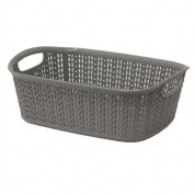 JVL Knit Design Loop Plastic Rectangular Small Storage Basket with Handles-3 Litres, Grey, 20 x 26 x 9.5 cm