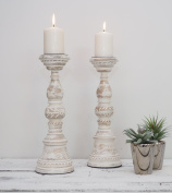 White Distressed Wooden Candlestick - Candle Holder Large - Decorative Christmas Wedding Dinner Party Table - 12 x 12 x 34cm