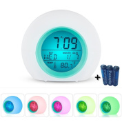 Wake Up Light Alarm Clock,Wake Up with Nature Sounds,Smart Snooze,Digital Temerature Display with 7 Colour Night Light for Kids,Adults & Teens