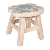 Blue Crab Design Hand Carved Acacia Hardwood Decorative Short Stool