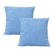 Set of 2 Natus Weaver Solid Supersoft Corduroy Handmade Decorative Velvet Throw Pillow Cushion Cover With Zipper for Bed, Light Blue, 46cm x 46cm