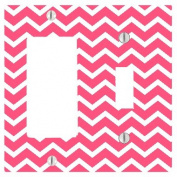 Cute Chevron Lines Pattern Background 2 Gang Toggle / Decorator Dimmer Wall Plate