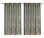 Pack of 2, CaliTime Grommets Window Curtains Panels for Bedroom, Each Panel 140cm X 210cm , Total 280cm X 210cm , Vintage Damask, Grey