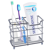 Toothbrush Holder, Aiduy Toothpaste Holder Stand Bathroom Storage Organiser Rack for Vanity Countertops - Stainless Steel