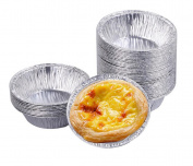 50PCS Silver Paper Tinfoil Disposable Egg Tarts Mould Powl Tin Kitchen Baking Tool Cupcake Cake Cookie Circular Tart Pudding Mould Cups Makers Holder Container