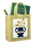 Chunky Cross Stitch Gift Bag Set in Green and Yellow Floral Design