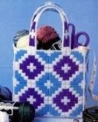 Chunky Cross Stitch Gift Bag Set in Blue Diamond Design