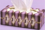 """Chunky Cross Stitch Tissue BoxCover""""Purple and Lilac Abstract"""" 3D"""