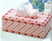 """Chunky Cross Stitch Tissue BoxCover""""Pink and Red Abstract"""" 3D"""