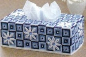 """Chunky Cross Stitch Tissue Box Cover""""Blue Floral"""" 3D"""