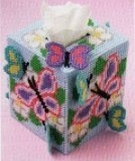 "Chunky Cross Stitch Tissue Box""Butterfly design"" 3D"