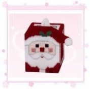 """Chunky Cross Stitch Tissue Box""""Father Christmas"""" 3D"""
