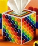 "Chunky Cross Stitch Tissue Box""Bright Colours"" 3D"