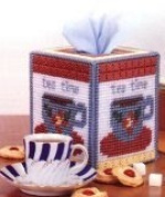 "Chunky Cross Stitch Tissue Box""Cup of Tea Time"" 3D"