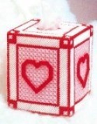 "Chunky Cross Stitch Tissue Box""Pink and Red Love Heart"" 3D"
