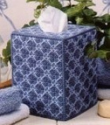 "Chunky Cross Stitch Tissue Box""Shades of Blue"" 3D"