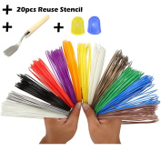 【Clearance sales】3D Pen Filament Refills- Bouns 20 Reuse Plastic Paper Stencil-3D Stencils Ebook-2 Glow In The Dark Colours -1 Spatula -2 Silicone Glove to Protect Finger-1.75mm -Universal ABS -12 Unique RAINBOW Colours- 9.8m Each Colour by AttoPro