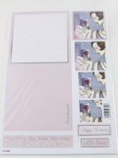 Craft UK Concept Card Decoupage Happy Birthday Handmade Card - Light Pink X 10 Includes a pad of 440 3 mm Decoupage dots