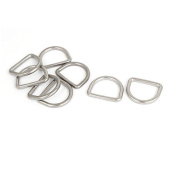DealMux Stainless Steel D-Shaped Hooks D Ring Belt Buckles 5 Pcs for Handbag