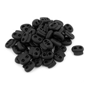 DealMux Oval 4mm Dia Double Hole Cord Lock Stopper Toggle End 50Pcs Black