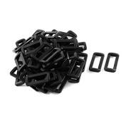 DealMux Plastic Bar Slides Buckles 50pcs Black for 32mm Webbing Strap